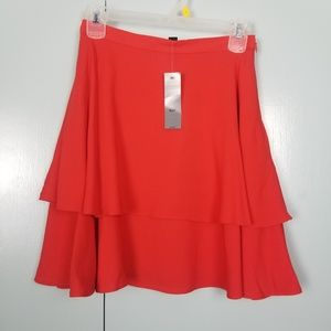 Ann Taylor double ruffle red skirt size 00P -N2